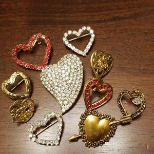 10 Piece Heart Brooch/Pin Bundle